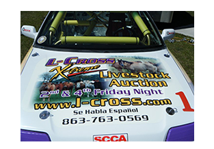Hood view of full race car wrap designed by Custom Graphics and Signs