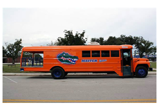 Bus decals and lettering  designed by Custom Graphics and Signs